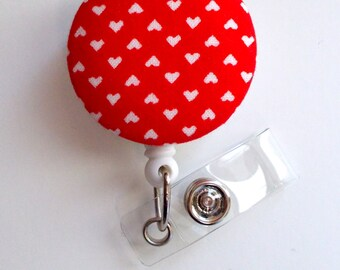 Red Mini Hearts - Cute ID Badge Reel - Nurse Badge Holder - Nursing Badge Reel - Retractable ID Badge Reel - Teacher Badge - Cardiac Nurse