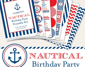 Nautical birthday party printables collection - Over 45 pages of ship-shape designs for your party decor