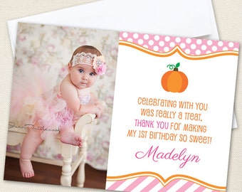 Pink Pumpkin Party Photo Thank You Cards - Professionally printed *or* DIY printable
