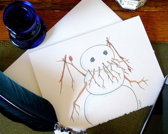 Cthulhu Snowman Blank Greeting Card Christmas Holiday Winter