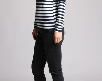 Striped T-Shirt with Color Block Shouler, Shoulder Patch Top, Crew Neck Tshirt, Long Sleeve Winter Tshirt, Knit Top - Oatmeal and Navy