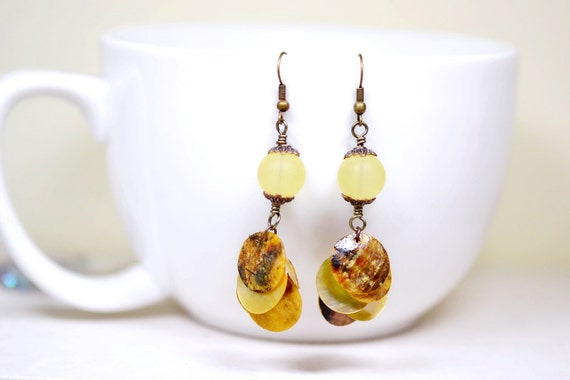Yellow Bohemian Chandelier Earrings / Seashell Jewelry / Lemon Yellow Boho Chic Dangles