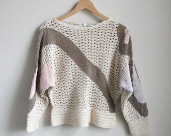 Vintage Batwing Sweater - Ecru Cotton Crochet with Pastel Abstractions