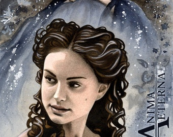 "Padme Amidala - Star Wars Traditional Art Watercolor Painting - Fine Art Print 15x20cm (5.9""x7.8"") - Hand Signed"