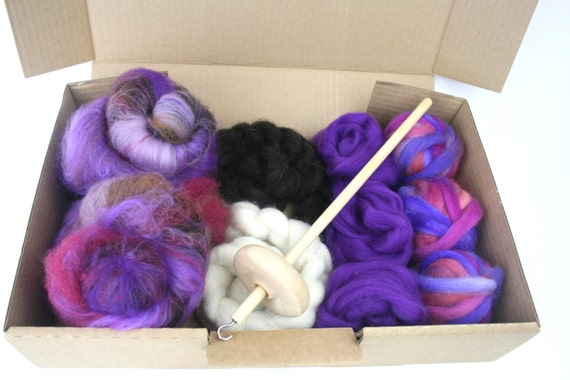 Luxury Drop Spindle Kit - Learn To Spin - Roving, Batt, Fibre, Drop Spindle and beginner instructions