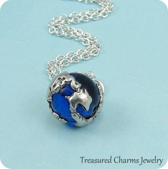 Earth Globe Necklace with Ocean Blue Glass Bead, Sapphire Earth Globe Charm on a Silver Cable Chain
