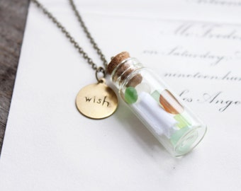 message in a bottle. necklace. (glass bottle. sea glass pebbles. secret message. wish stamp tag. tiny cork. green clear brown)