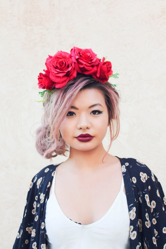 Red rose flower crown statement headpiece rose headband floral crown