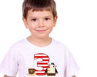 Personalized Pirate Ship and Treasure Birthday Shirt or Bodysuit - Personalized with ANY Name and Age