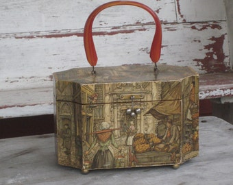Vintage Anton Pieck Box Purse decoupaged with Lucite Handle #etsygifts  (4167-W)