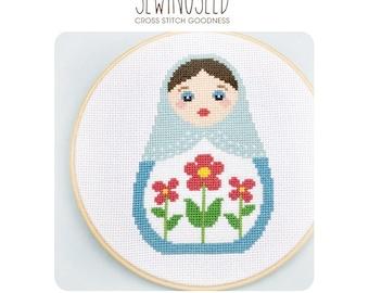 Cross Stitch Pattern, Russian Doll, Matryoshka, Nesting Doll, Instant Download