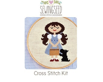 Dorothy and Toto Cross Stitch Kit, Wizard of Oz, DIY Embroidery Kit, DIY Kit