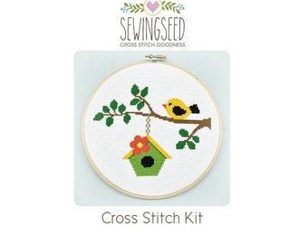 Bird on a Branch Cross Stitch Kit, DIY Kit, Embroidery Kit, Spring, Birdhouse, Easy Kit