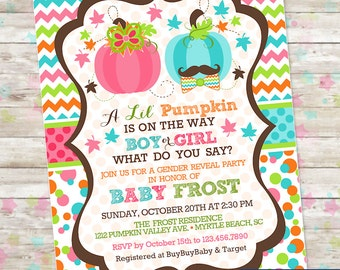 Printable Gender Reveal Party Invitation- Lil Pumpkin on the WAY Boy or Girl Invite with Pumpkins, Gender Reveal Idea, Sex Reveal, Fall