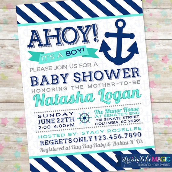 Baby Boy Shower, Ahoy Its a Boy, Nautical Invite, Anchor Invitation