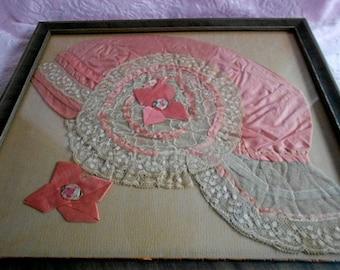Antique Flapper Lady Art Deco Boudoir Lace Night Sleep Cap Hat Bonnet Peach Pink Silk Ribbon Rose Work Trim Ribbonwork Rosette Frame Picture