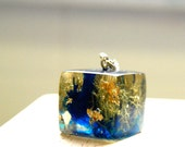 Moss with Blue Ink & Gold Flake Resin Cube Pendant
