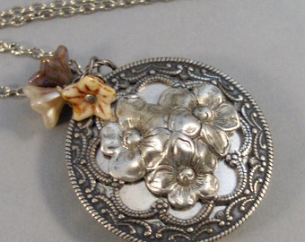 Antique Posies,Locket,Silver Locket,Antique Locket,Flower Locket.,Poppy, Flower.Flower Necklace,Poppy Necklace,Tan,Pink, ValleyGirlDesigns.