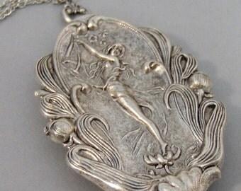 Flora,Goddess,Flowers,Necklace,Locket,Silver Locket,Girl,Goddess,Antique Locket,Night,Woodland,Jewelry,Goddess Locket, valleygirldesigns.