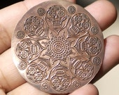 Copper or Brass or Bronze or Nickel Silver Sugar Skull Flower 20G Disc Blank 42mm, Jewelry Pendant Blank - 2 Pieces