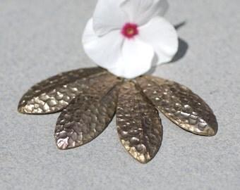 Bronze Blanks Shapes  Hammered Textured Leaf - Leaves - Tree Fall Greenery Leaf 3D 30mm x 12mm shape Blank