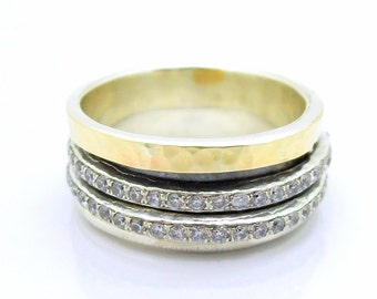 Zircon spinner ring with sterling silver & Gold