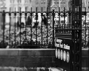 Black & White New York Photography, Bryant Park, NYC Subway, New York Print, Neutral, Travel Photography