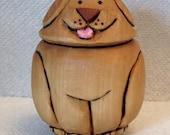 Little Puppy Goose Egg Wood Carving Hand Carved Handmade Gift For Child Babys Room Decor Carved Wood Egg