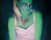 SALE - Green Exposed Brains Headband, Green Zombie Brains, Halloween Hairband - Christmas In July CIJ