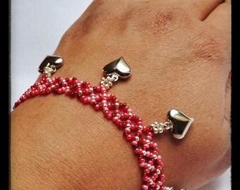 Red Beaded Bracelet, Valentines Day Bracelet, Heart Charm Bracelet, Silver Heart Charms, Seed Bead Bracelet, Fun Bracelet, Red Bracelet