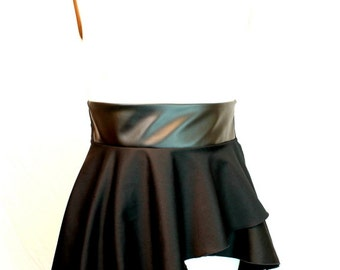 Plus Size Peplum Belt Assymetrical Faux Leather Adjustable