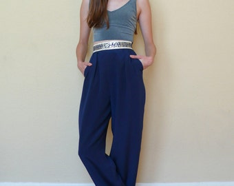 Vintage Chinoiserie 1990's Navy Blue Metallic Floral High Waisted Wide Leg Tailored Trousers Pants XS/S 24