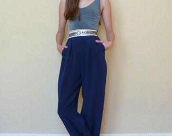SALE / Vintage Chinoiserie 1990's Navy Blue Metallic Floral High Waisted Wide Leg Tailored Trousers Pants XS/S 24