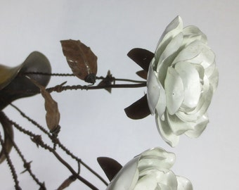 A Single Rustic White Immortal Wild Rose With Barbed Wire Stem Forever Blooming Flower