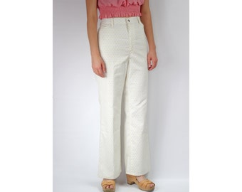 70s Levi Yellow Rosette White High-waisted Straight Cotton Pants  -- Sz 33