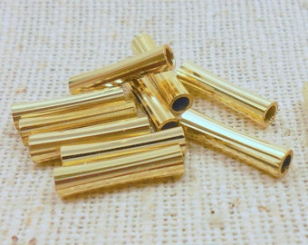 Corrugated Brass Small Flared Tube Beads (12) Industrial, Patina, Steampunk 12mm