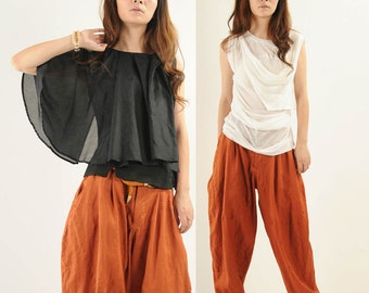 cotton linen wide-leg pants bloomers pants
