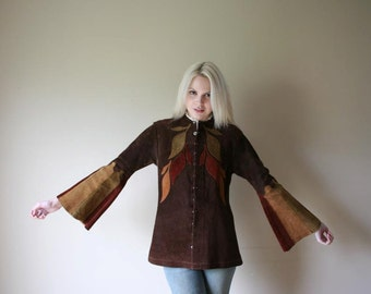 Vintage Leather Jacket / East West Musical Instruments Jacket / The Ultimate in Suede Patchwork from the 1960s /
