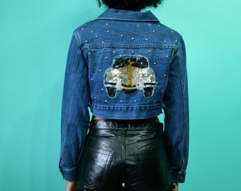 SALE Sequin Denim Jacket / Nineties Crop Top Jacket / Jean Jacket / Car Novelty Jacket / Frederick's of Hollywood