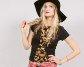 Fitted black shirt with floral print - eco-friendly women's boho rocker babe fashion - L