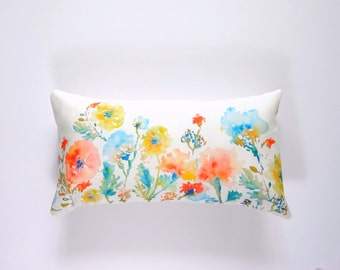 Long 12x21 Lumbar Floral Pillow Cover, Designer Watercolor Floral Pillow Cover, 12x21, Pillow Accent