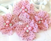 NEW: 4 pcs Aubrey PINK Polka Dots Patterned- Soft Chiffon with pearls and rhinestones Layered Small Fabric Flowers, Hair accessories