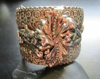 HUGE Vintage Silver Tone Hinged Cuff Bracelet with Art Nouveau Leaf Repousse