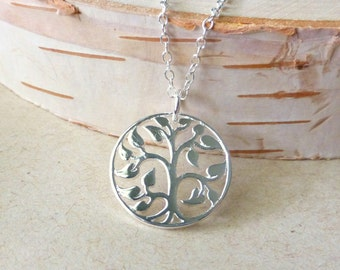 Tree Of Life Charm Necklace, Sterling Silver Round Pendant Necklace, Gift For Mom, Mother, Grandmother, Christmas Gift