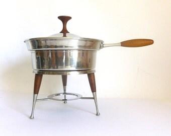 Mid Century Modern 4 Piece Stainless Steel & Teak Chafing Dish
