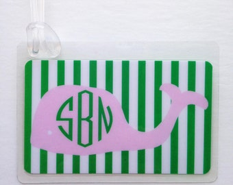 Preppy Whale Bag Tag Personalized Whale Bag Tag Pink Whale Baby Shower Favor Monogram Whale Tag Beach Bag Tag Preppy Whale Birthday Favor