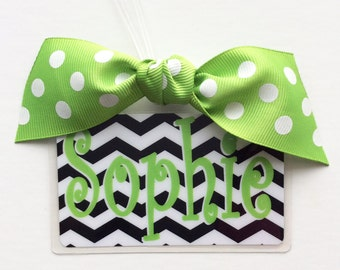 School Bag Tag School Backpack Tag Cheer Bag Tag Lunch Bag Tag Ribbon Bag Tag College Backpack Tag Lime Luggage Tag Monogrammed Gift