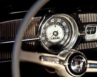 Vintage car Photography VW Bug volkswagon gauges speedometer road trip 67 steering wheel fuel tank black beetle - The dash - fine art photo