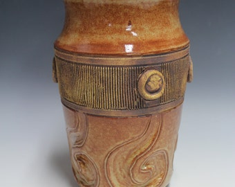 Stoneware Shino Vase with deep carved designs