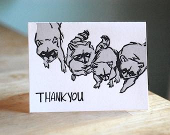 Letterpress Raccoon Thank You Card